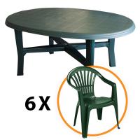 Set masa Danubio + 6 scaune Altea, pentru gradina, verde, din plastic