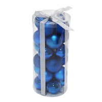 Globuri Craciun, albastre, diametru 6 cm, set 24 bucati, SD16-4A