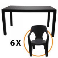 Set masa cu 6 scaune Cati, pentru gradina, din plastic