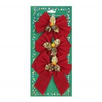 Fundite decorative Craciun, rosu + auriu, 11 cm, set 3 bucati, SY16HDJ-10
