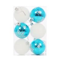 Globuri Craciun, albastru + alb, D 6 cm, set 6 bucati, SY16CBA-177