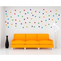 Sticker decorativ perete, camera copii/living/dormitor, Cercuri colorate, PT1450, 30 x 90 cm