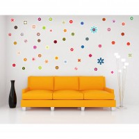 Sticker decorativ perete, camera copii / living / dormitor / hol, Floricele, PT1460, 30 x 90 cm