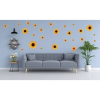 Sticker decorativ perete, living, Floarea soarelui, PT1465, 60 x 90 cm