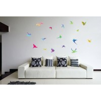Sticker decorativ perete, living, Pasari colorate, PT1467, 30 x 90 cm