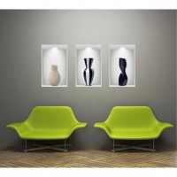 Sticker decorativ perete, dormitor/living/hol, Vase Illusion 1, PT1469, 30 x 56 cm