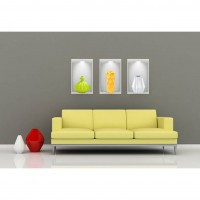 Sticker decorativ perete, hol/living/dormitor, Vase Illusion 2, PT1470, 30 x 56 cm