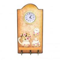 Cuier decorativ D1032, pentru hol, cu 3 agatatori si ceas