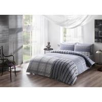 Lenjerie de pat, 2 persoane, Moselle, bumbac 100%, 4 piese, alb + bleu