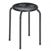 Taburet SC99001 fix, rotund, metal negru, 30 x 30 x 44.5 cm