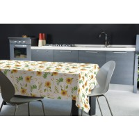 Fata de masa Felpata 241, model floral, folie PVC laminata, alb + galben + verde, 160 x 120 cm