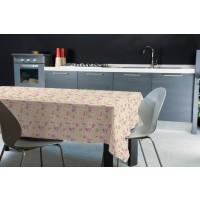 Fata de masa Felpata 222, model floral, folie PVC laminata, bej + roz, 160 x 120 cm
