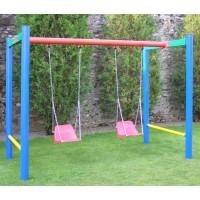 Leagan copii, cu 2 scaune cu spatar, H.01.04, structura metalica, 230 x 155 x 180 cm