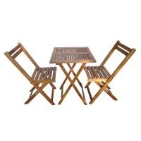Set masa patrata, cu 2 scaune, pentru gradina Bistro TGD1508T/1508C, din lemn