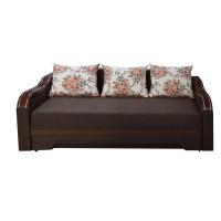 Canapea extensibila 3 locuri Bianca, cu lada + ornament, maro, 230 x 106 x 80 cm, 4C