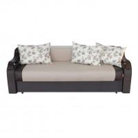 Canapea extensibila 3 locuri Sorana, cu lada, maro + crem, 225 x 100 x 76 cm, 2C