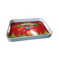 Tava dreptunghiulara pentru servire, din plastic, Plastina 86019, model Craciun, 32 x 25 x 4 cm
