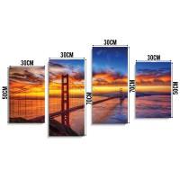 Tablou PT1177, 4 piese, Golden gate, canvas + sasiu brad, 2 piese - 30 x 50 cm + 2 piese - 30 x 70 cm