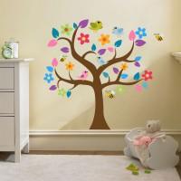 Sticker decorativ perete, camera copii, Copacul colorat si pasari, PT1180, 120 x 120 cm