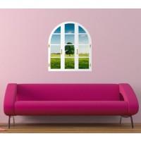 Sticker decorativ perete, living, Fereastra catre lume, PT1499, 80 x 85 cm