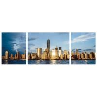 Tablou PT1524, 3 piese, peisaj urban, canvas + sasiu brad, 170 x 60 cm