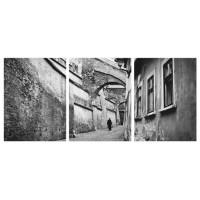 Tablou PT1529, 3 piese, peisaj urban, canvas + sasiu brad, 135 x 60 cm