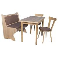 Bancheta bucatarie Adela, cu 2 scaune + masa, cu lada, sonoma + maro, 92 x 58 x 88 cm 3C