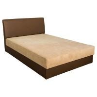Pat dormitor Mango, matrimonial, tapitat, cu lada, maro + crem, 140 x 200 cm, 2C