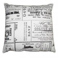 Perna decor SSE-OTC-9778, alb + negru, bumbac + poliester, cu print vintage, 40 x 40 cm