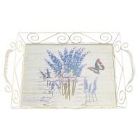 Tava dreptunghiulara decorativa, din metal + MDF, 1720L, multicolora, 37.5 x 24 x 9 cm
