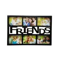 Rama foto, dreptunghiulara, LB-243, Friends, neagra, plastic + sticla + carton, 45 x 30 cm