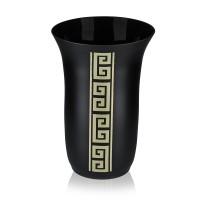 Vaza sticla decorativa, Diverso 3/01, negru + auriu, pictata manual, D 16 cm, H 23 cm