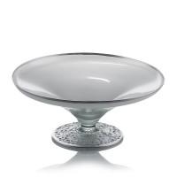 Fructiera din sticla, Elegance, 041/03, argintiu metalizat, pictata manual, D 24 cm, H 10 cm