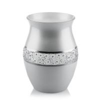 Vaza din sticla, Elegance, VG22/03, argintiu metalizat, pictata manual, D 16 cm, H 22 cm