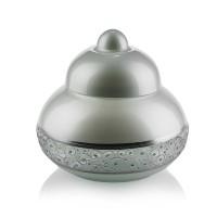 Bomboniera din sticla decorativa, Elegance 7/03, argintiu metalizat, pictata manual, D 19 cm, H 18 cm