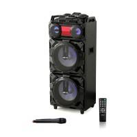 Boxa portabila activa Akai ABTS-T1203, 90 W, Bluetooth, USB, SD card, Mic in, Aux in, karaoke, radio FM, negru, microfon, telecomanda, sistem cu show de lumini