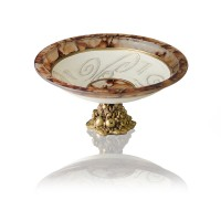 Fructiera din sticla, Daphne, 242/14, maro + crem + auriu, pictata manual,  D 25 cm, H 11.5 cm