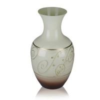 Vaza din sticla, Latte, 12/12, maro + bej, pictata manual, D 15 cm, H 25 cm