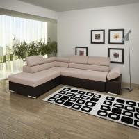 Coltar living extensibil pe dreapta Magic, cu lada, bej + maro, 260 x 205 x 90 cm, 3C
