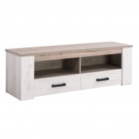 Comoda TV cu sertare Kent 150, stejar alb + stejar gri, 151.5 x 43.5 x 49.5 cm, 1C