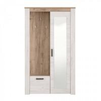 Cuier hol Kent PS cu 7 agatatori, oglinda, dulap si comoda, stejar alb + stejar gri, 2 usi, 1142 x 365 x 1950 mm, 2C
