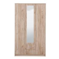 Dulap dormitor Hana 3K2FO, stejar gri, 3 usi, cu oglinda, 120 x 52 x 205 cm, 3C