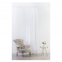 Perdea Mendola Fabrics, model Vicenza, Basic, batist, alb, H 280 cm