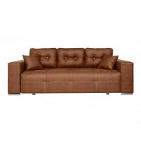 Canapea extensibila 3 locuri Optimus, cu lada, maro deschis, 242 x 100 x 88 cm, 3C
