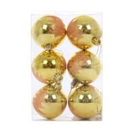 Globuri Craciun, aurii, D 6 cm, set 6 bucati, SY17DGZ-389