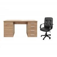 Birou calculator Liber, stejar sonoma + scaun birou ergonomic Apollo, negru
