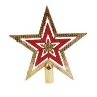 Varf brad Craciun, auriu + rosu, 15.5 cm, SYCD17-074