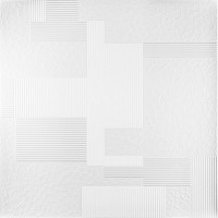 Tavan fals decorativ, polistiren extrudat, C2049, modern, alb, 50 x 50 x 0.5 cm