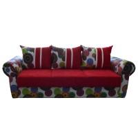 Canapea extensibila 3 locuri Soleto, cu lada, rosu + multicolor, 249 x 100 x 77 cm, 4C