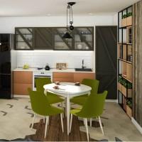 Set masa fixa Tokyo cu 4 scaune tapitate Alberta, bucatarie, gri + verde